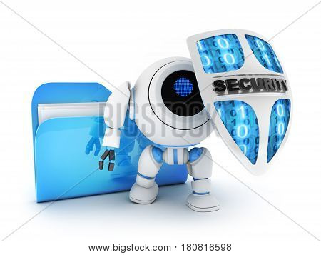 File and Robot with shield on white background. 3d illustration