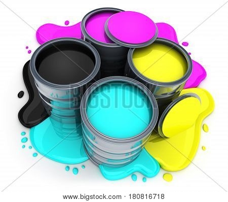 Paint CMYK on white background. 3d illustration