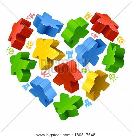 Vector multicoloured game pieces in the shape of heart. Red, blue, green and yellow wooden meeples, and resources counter icons isolated on white background. Concept of love by board games