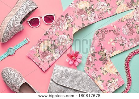 Fashion Design Woman Clothes Accessories Set. Trendy Hipster Floral Leggings, fashion Sunglasses, Stylish Handbag Clutch. Glamor Silver fashion hipster shoes. Summer Lady. Urban Outfit. Art Minimal