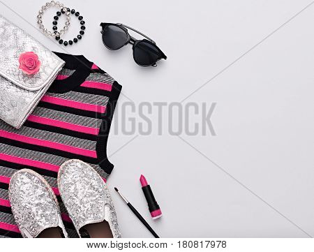 Fashion Design Woman Accessories Set. Cosmetic Makeup. Trendy Hipster fashion Stripy Dress, Stylish Sunglasses, Handbag Clutch, clothes.Glamor Silver fashion shoes. Luxury Party Lady.Art Urban Minimal