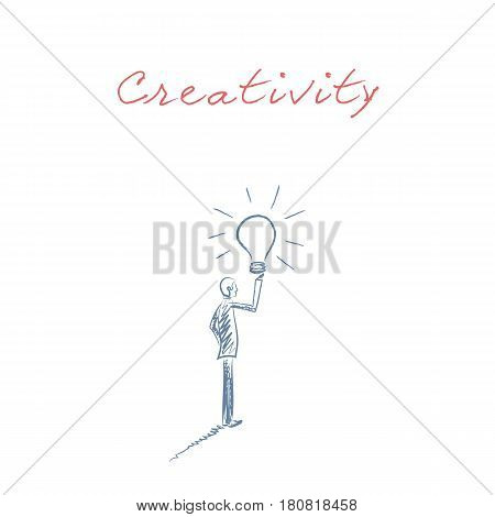 Business creativity hand drawn sketch vector with businessman holding lightbulb as a symbol of fresh, new, bright ideas for innvoation or invention. Eps10 vector illustration.