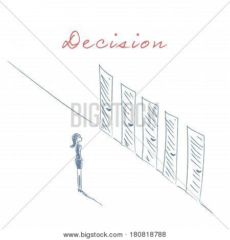 Businesswoman standing in front of different doors hand drawn sketch vector. Business concept of decision, career opportunity and challenge. Eps10 vector illustration.