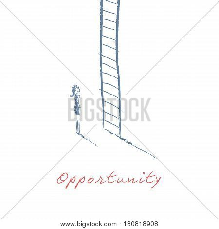 Business woman climbing corporate ladder in career hand drawn sketch vector illustration. Job or work promotion symbol for women. Eps10 vector illustration.