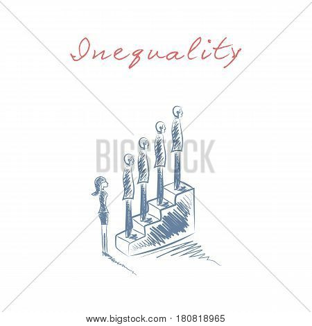 Gender issues in business hand drawn sketch vector concept. Business woman discrimination in career and corporate world. eps10 vector illustration.