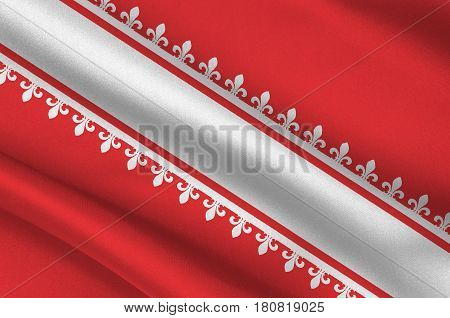 Flag of Bas-Rhin is a department in the Grand Est region of France. 3d illustration