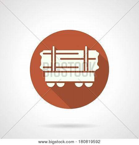 Abstract white silhouette of open platform rail car. Wagon for long loads and timber transportation. Round flat design orange vector icon.