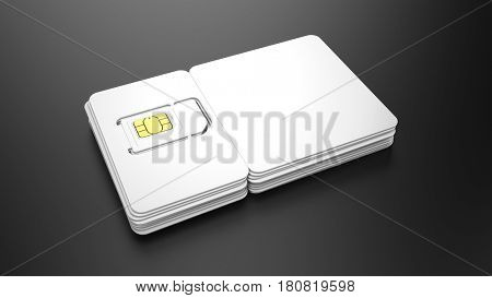 Stack of SIM cards with blank plastic cards for your design. 3d render