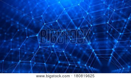 Concept of Network, internet communication - 3d hexagonal grid background. 3d illustration
