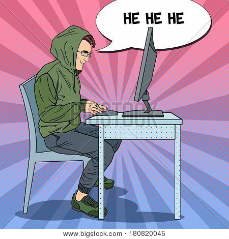 Hacker Hooded Man Stealing Data from Computer. Cyber Attack. Pop Art retro vector illustration