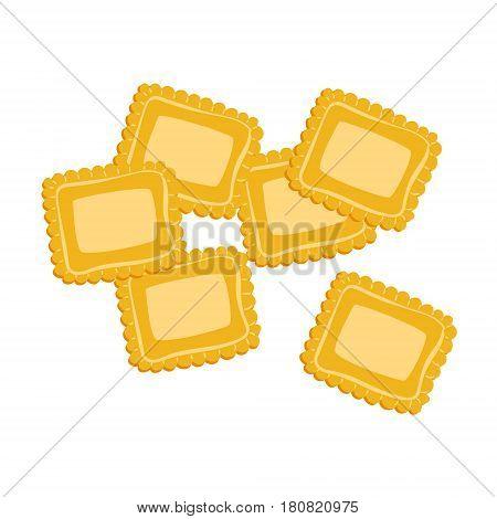 Ravioli pasta. Uncooked italian pasta, macaroni, cartoon illustration isolated on a white background