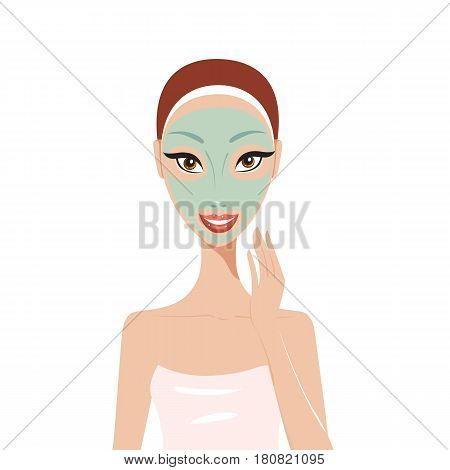 Beautiful happy woman with face mask Spa Skin care concept Vector illustration