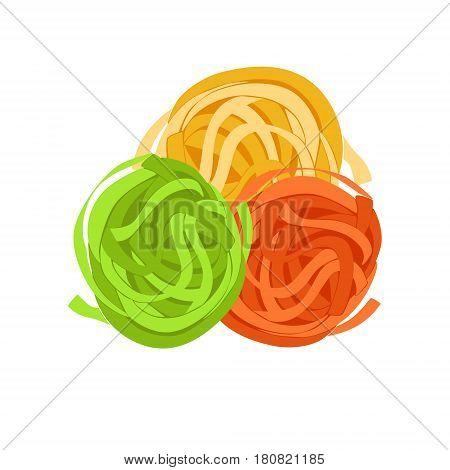 Fettuccine pasta. Uncooked italian pasta, macaroni, cartoon illustration isolated on a white background