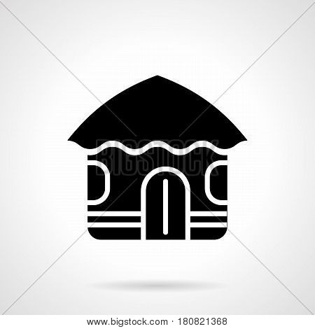 Abstract monochrome symbol of Hawaiian hut. Tropical building, exotic vacations. Symbolic black glyph style vector icon.