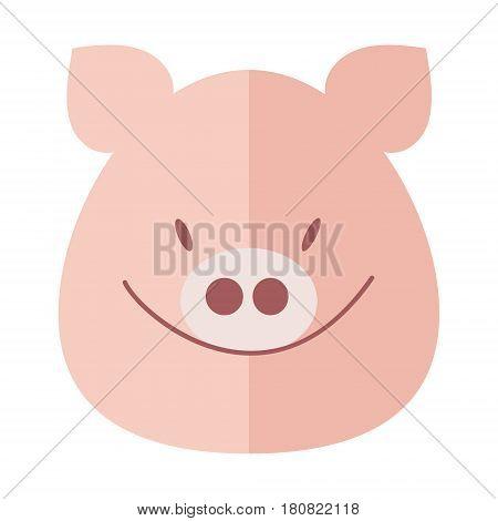 Pig smiles pig's muzzle. Pig head vector flat