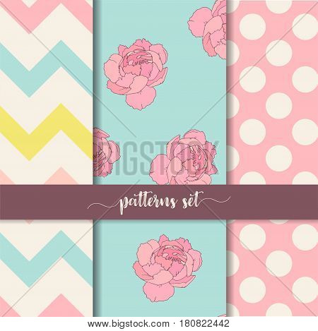 Zigzag, rose, dot vertical seamless patterns set, floral, geometric and large peas, polka dot, vector illustration for book design, website background or scrapbooks with ribbon hand lettering
