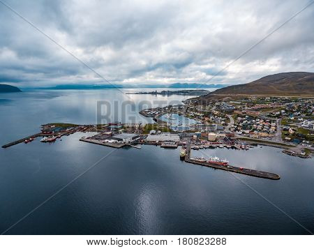 Hammerfest City, Finnmark, Norway aerial photography.
