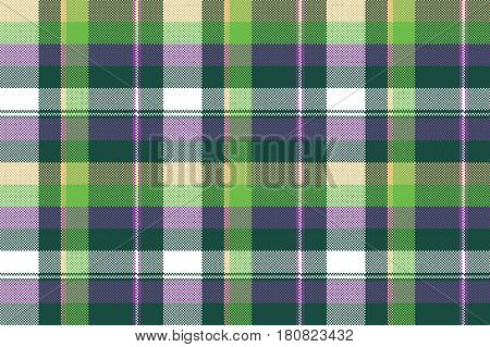 Green purple seamless pattern check fabric texture. Vector illustration.