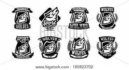 Collection of monochrome logos, emblems, howling wolf. Forest predator, mascot, sports club. Isolated Vector Illustration