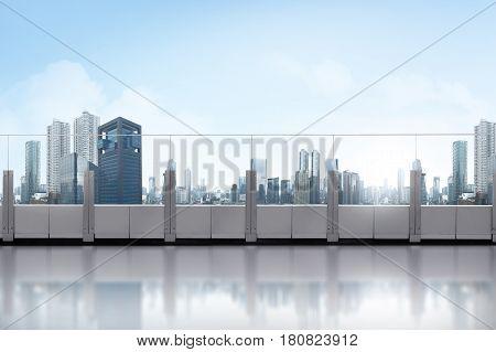 Rooftop Balcony With Skyscraper