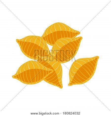 Conchiglie pasta. Uncooked italian pasta, macaroni, cartoon illustration isolated on a white background