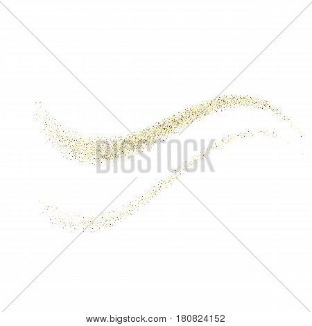 Vector gold glitter wave abstract background, golden sparkles on white background, Gold glitter card design. vector illustration vip design template.EPS10