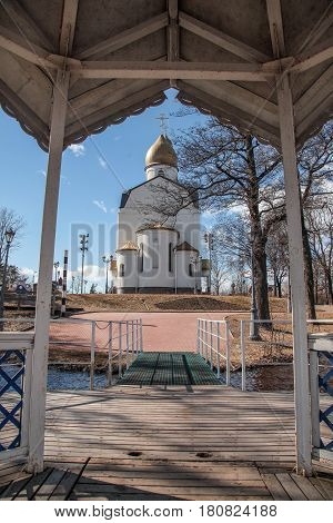 Russia.Leningrad region. The city of Sestroretsk.-09.04.2017: The temple was erected in honor of the submarine sailors