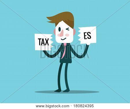 Businessman cutout Taxes paper. finance and profit concept. Flat design elements. vector illustration
