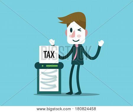 Businessman cutout Taxes paper by cut machine. finance and profit concept. Flat design elements. vector illustration