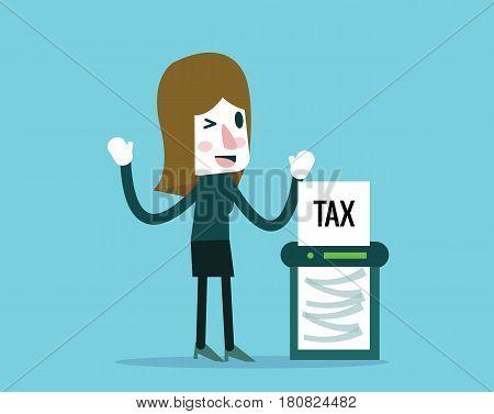Businesswoman cutout Taxes paper by cut machine. finance and profit concept. Flat design elements. vector illustration