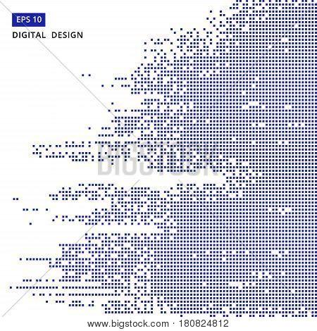 square blue pattern pixel mosaic digital background vector