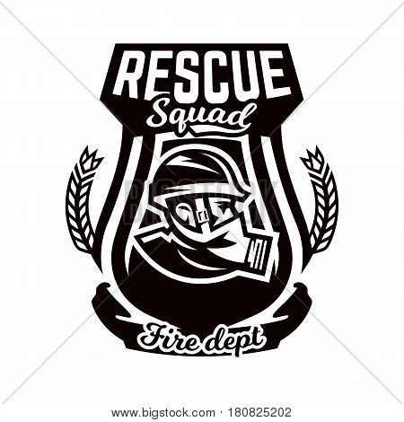 Monochrome logo, emblem, fireman in a gas mask. Rescue unit, fire brigade, shield. Vector illustration
