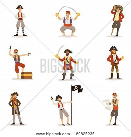 Pirate Sailors With Classic Filibusterer Attributes Set Of Smiling Male Characters With Guns And Sabers. Cut-throat Sea Bandits In Pirate Costumes Set Of Vector Illustrations.