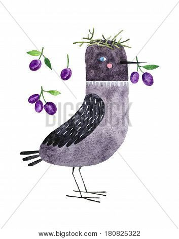 Hand drawn decorative jackdaw and plums. Isolated on white background watercolor bird for textile fabric and wallpaper.