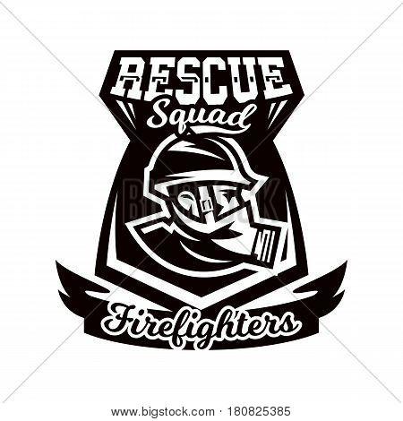 Monochrome logo, emblem, fireman in a gas mask. Rescue unit, fire brigade, shield. Vector illustration
