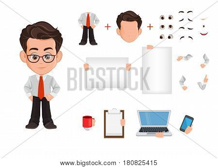 Business man cartoon character creation set constructor. Cute young businessman in office clothes. Vector illustration