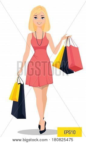 Beautiful woman with bags. Attractive cartoon girl in beautiful dress on a shopping spree. Vector illustration