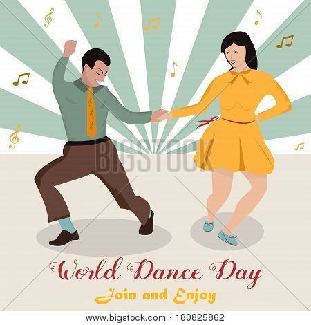 Bright illustration of the couple dancing boogie-woogie. International Dance Day