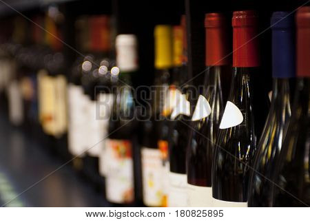 Bottles Of Wine On The Shelf. Selective Focus