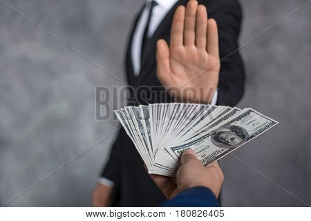 Male person giving money banknotes finance corruption