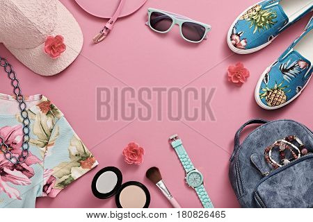 Fashion Design Woman Clothes Accessories Set. Trendy Hipster Dress, Summer Girl. Urban Street Outfit. Fashion Backpack, summer Sunglasses, Stylish Gumshoes. Cosmetic Makeup, fashion hipster Pink Cap