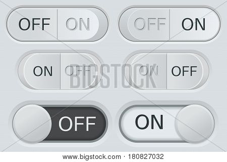 ON and OFF toggle switch buttons. Black and white web icons on gray plastic interface. Vector 3d illustration
