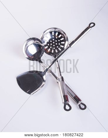 Kitchen Utensils Or High Quality Kitchen Utensils On Background.
