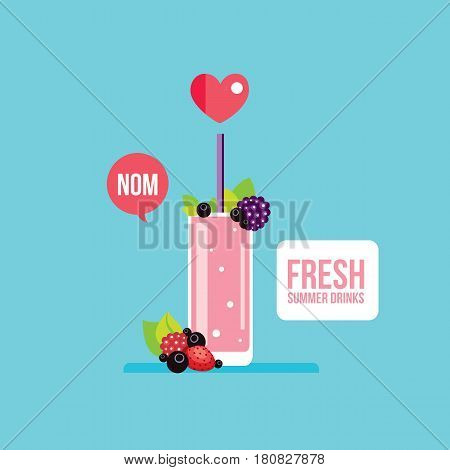 Fresh summer drink Smoothie Juice Cocktail with fruits and berries Vector illustration