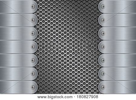 Metal perforated background with side plates and rivets. Vector 3d illustration