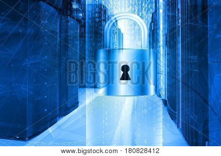 Network safety concept server closed with padlock,