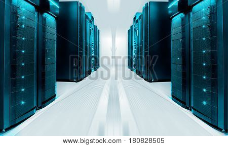 symmetrical futuristic modern server room in data center with bright light