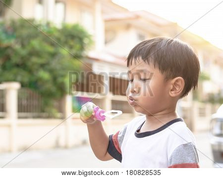 The Young Asian Boy Blowing Bubbles In Field With Vintage Filter