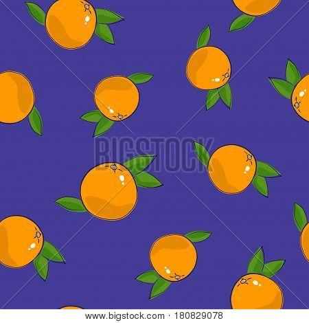 Seamless Pattern of Grapefruit ,Citrus Fruit on Purple Background, Vector Illustration