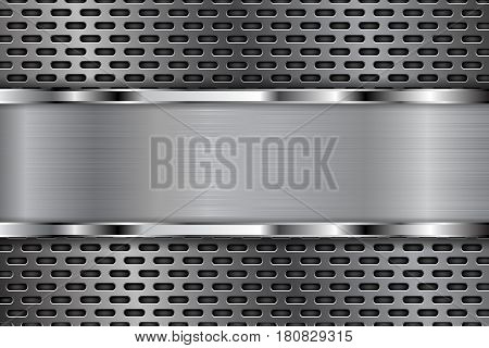 Metal perforated background with shiny chrome plate. Oval shaped holes. Vector 3d illustration
